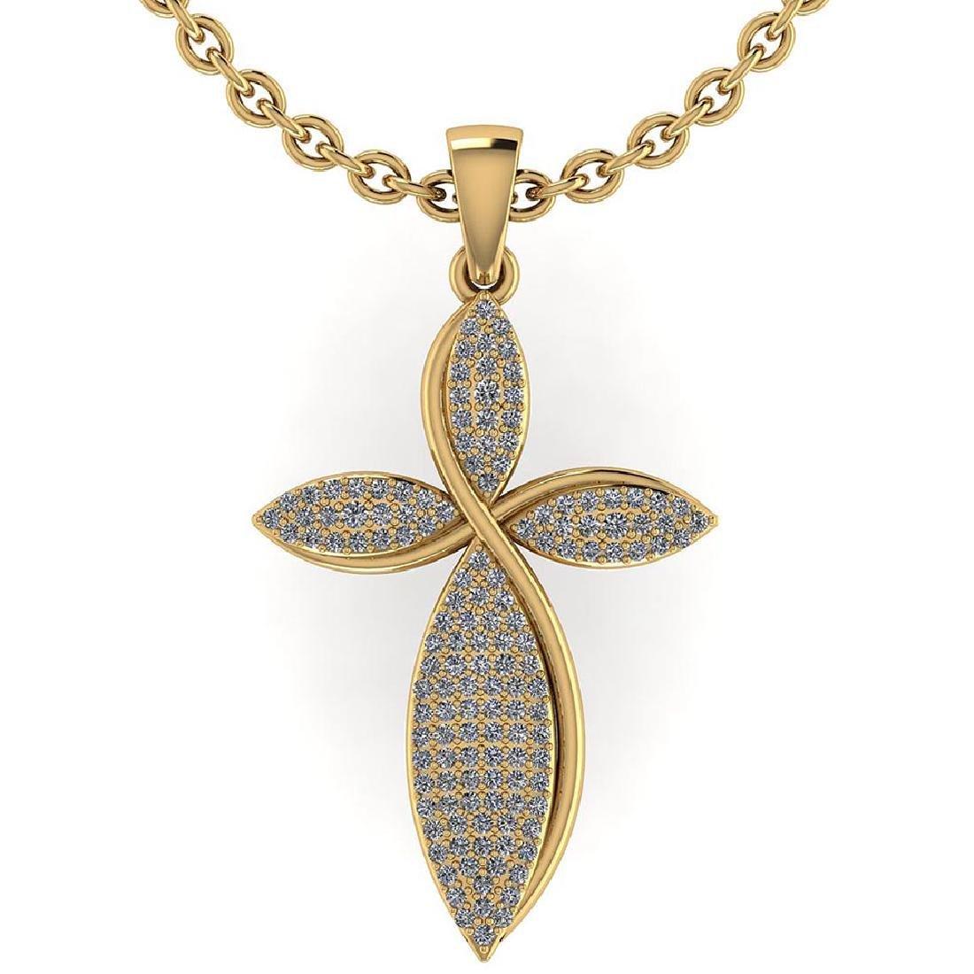 Certified 1.50 CTW Round Diamond 14K Yellow Gold Pendan