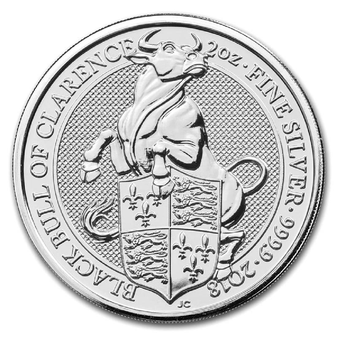 2018 2 oz British Silver Queen?s Beast Black Bull Coin