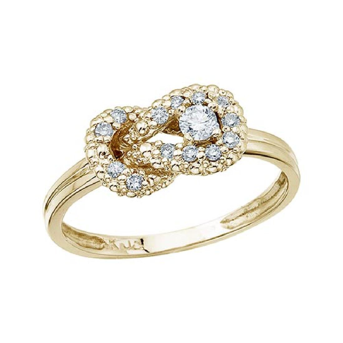Certified 14K Yellow Gold Fashion Knot Diamond Ring