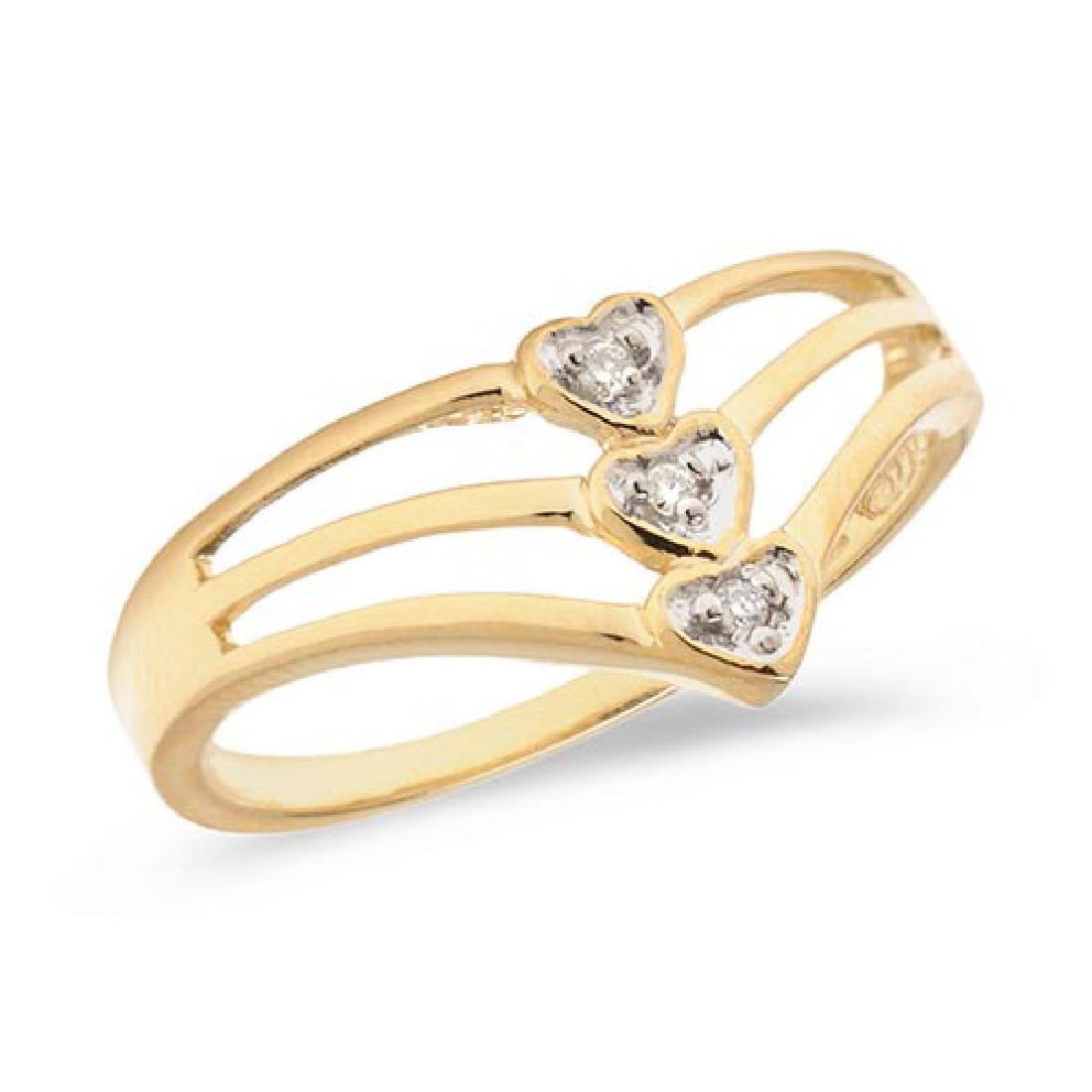 Certified 14K Yellow Gold Diamond Heart Ring