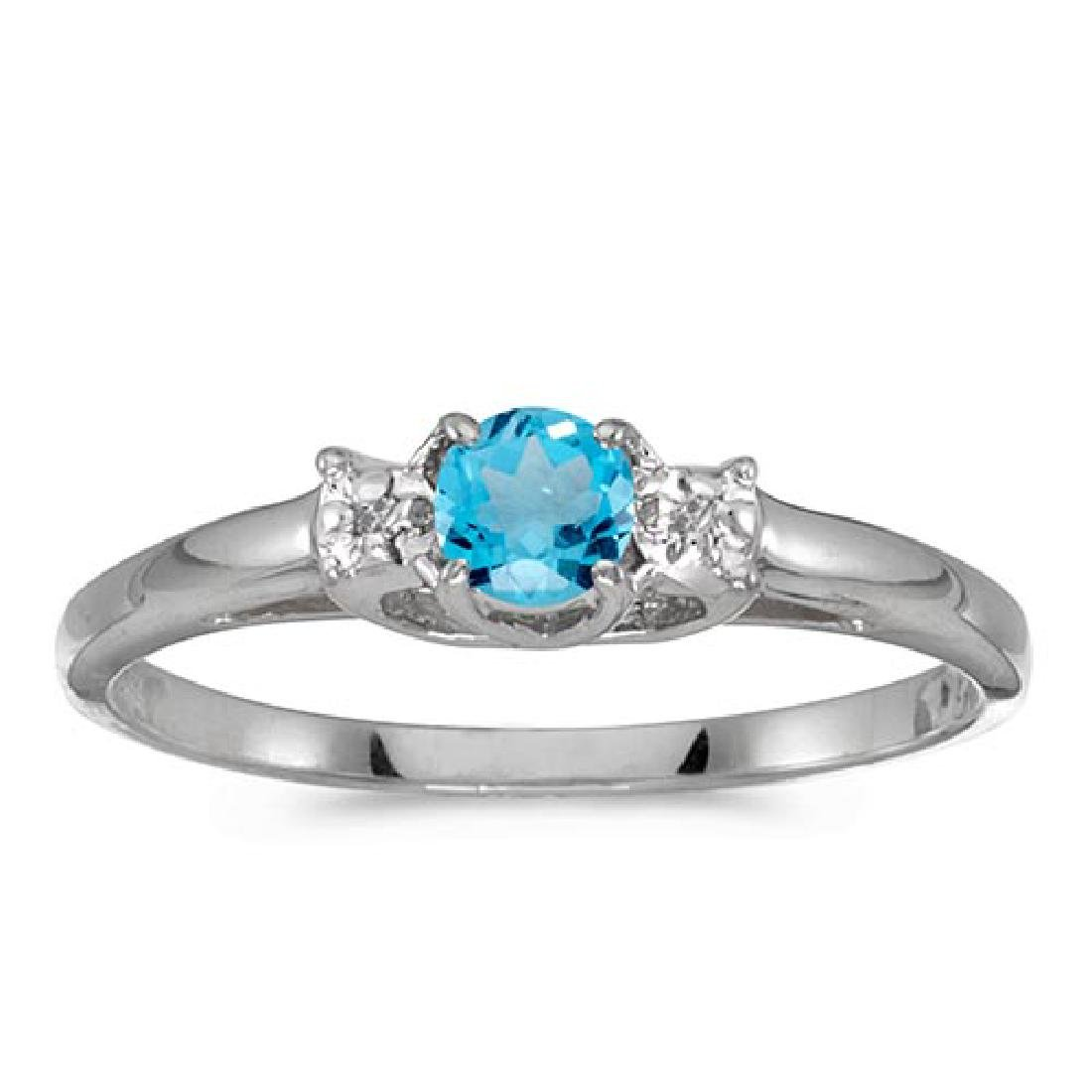 Certified 14k White Gold Round Blue Topaz And Diamond R