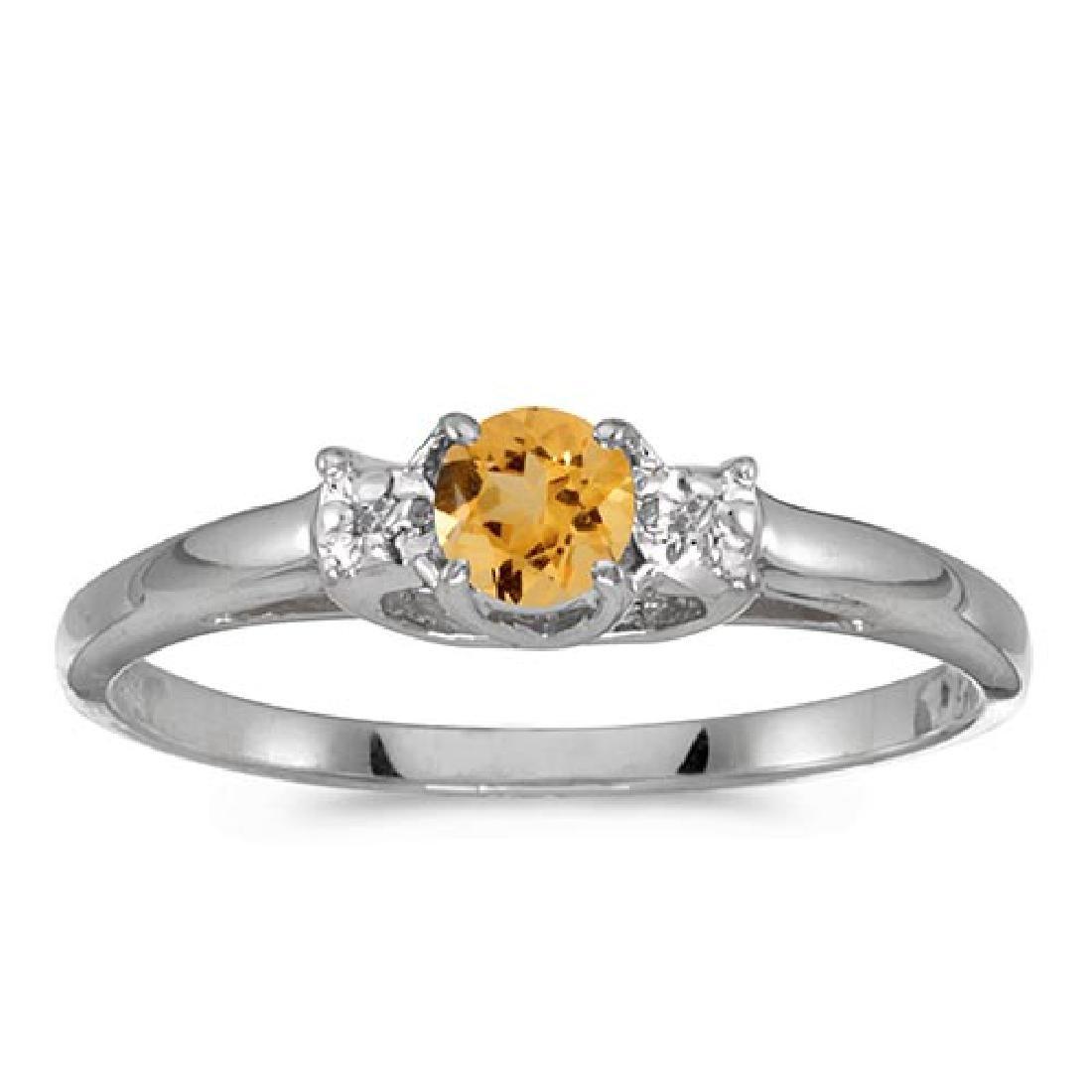 Certified 14k White Gold Round Citrine And Diamond Ring