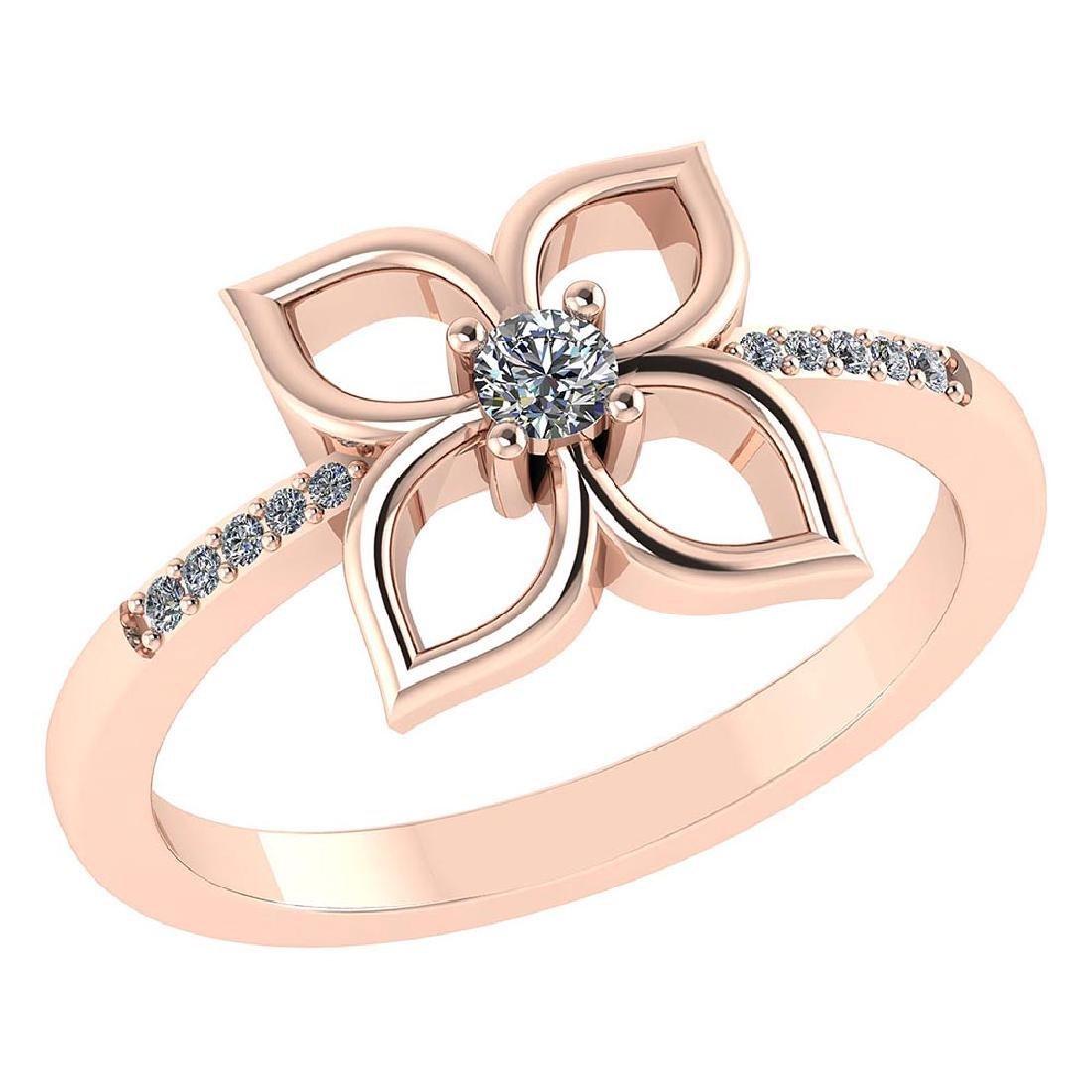 Certified .35 CTW Round Diamond 14K Rose Gold Ring