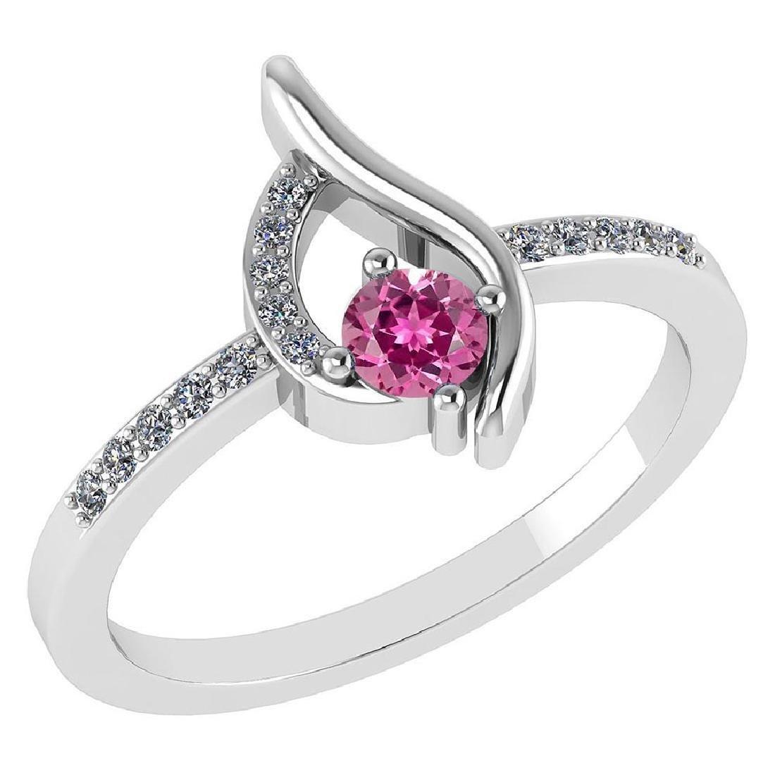 Certified .30 CTW Genuine Pink Touramline And Diamond (