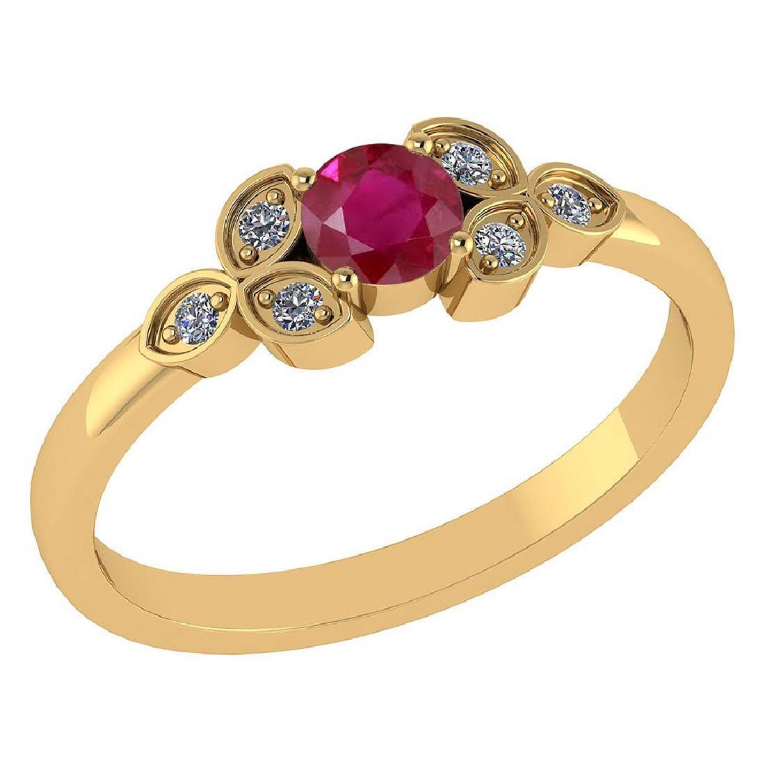Certified .39 CTW Genuine Ruby. And Diamond (G-H/SI1-SI