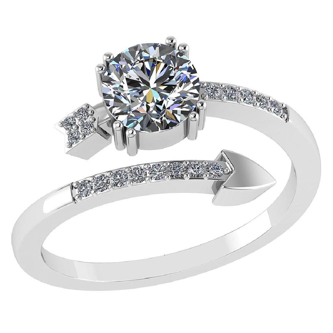 Certified .70 CTW Round Diamond 14K White Gold Ring