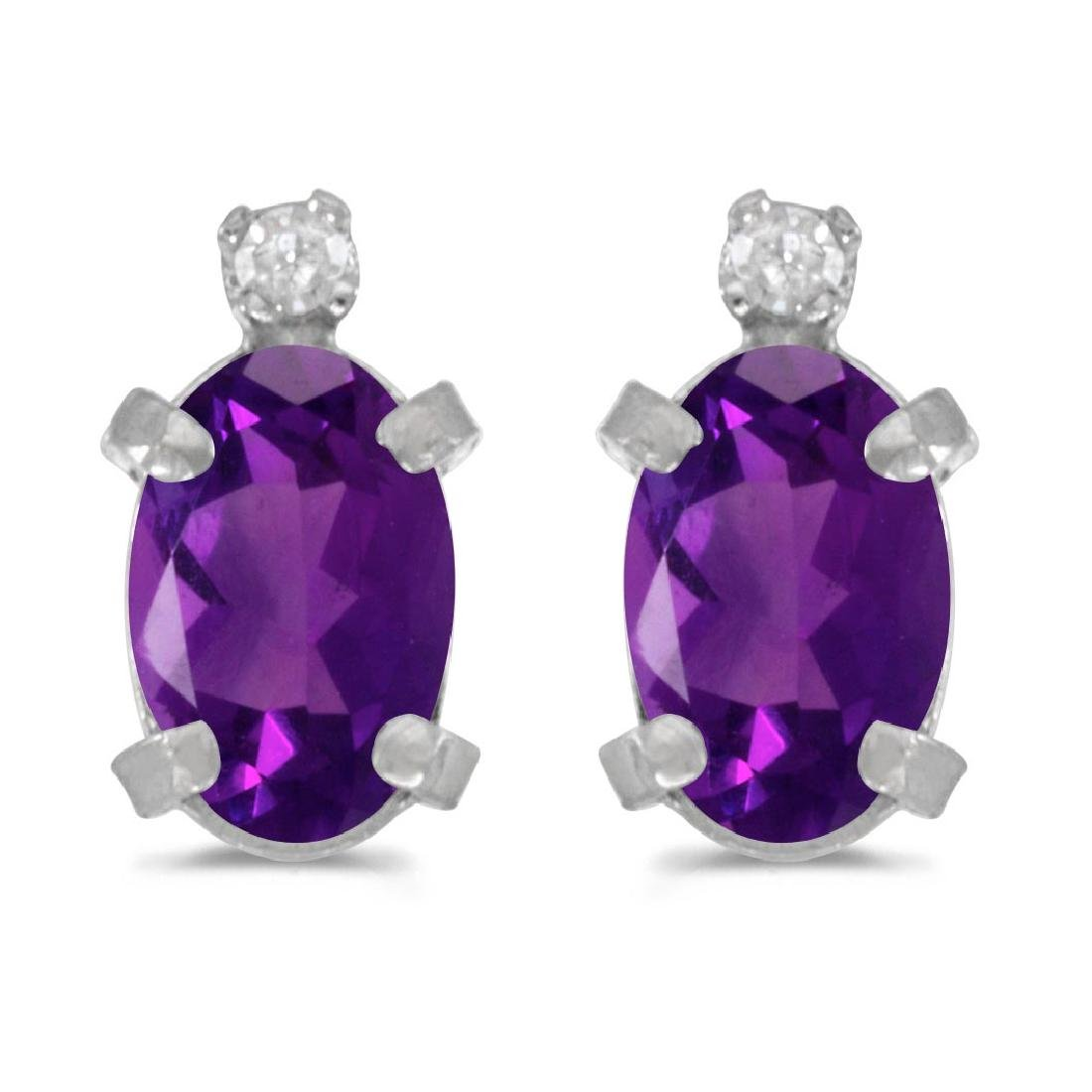 Certified Sterling Silver Oval Amethyst and Diamond Ear