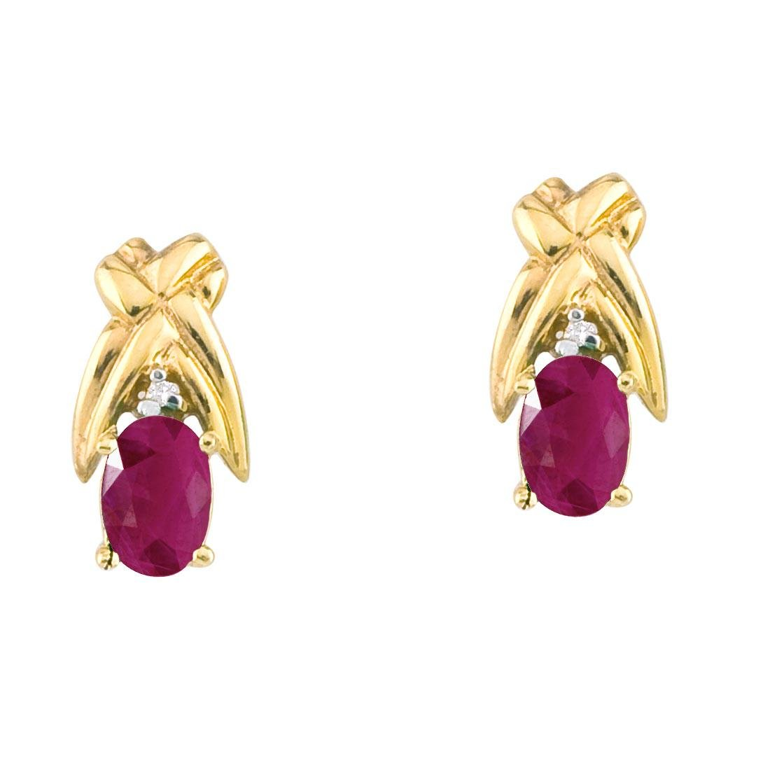 Certified 14k Yellow Gold 6x4mm Oval Ruby and Diamond S