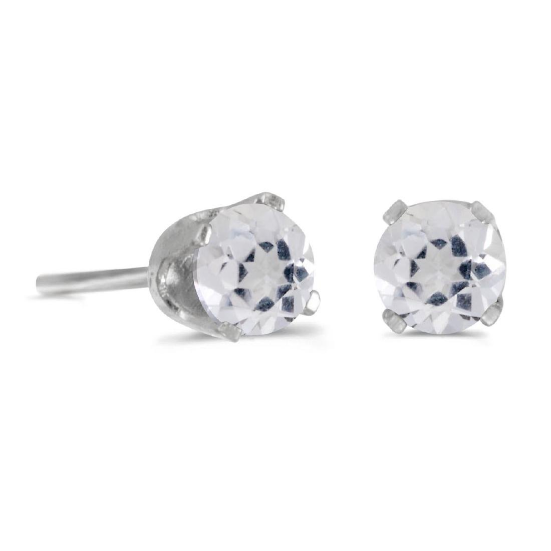 Certified 4 mm Round White Topaz Stud Earrings in Sterl