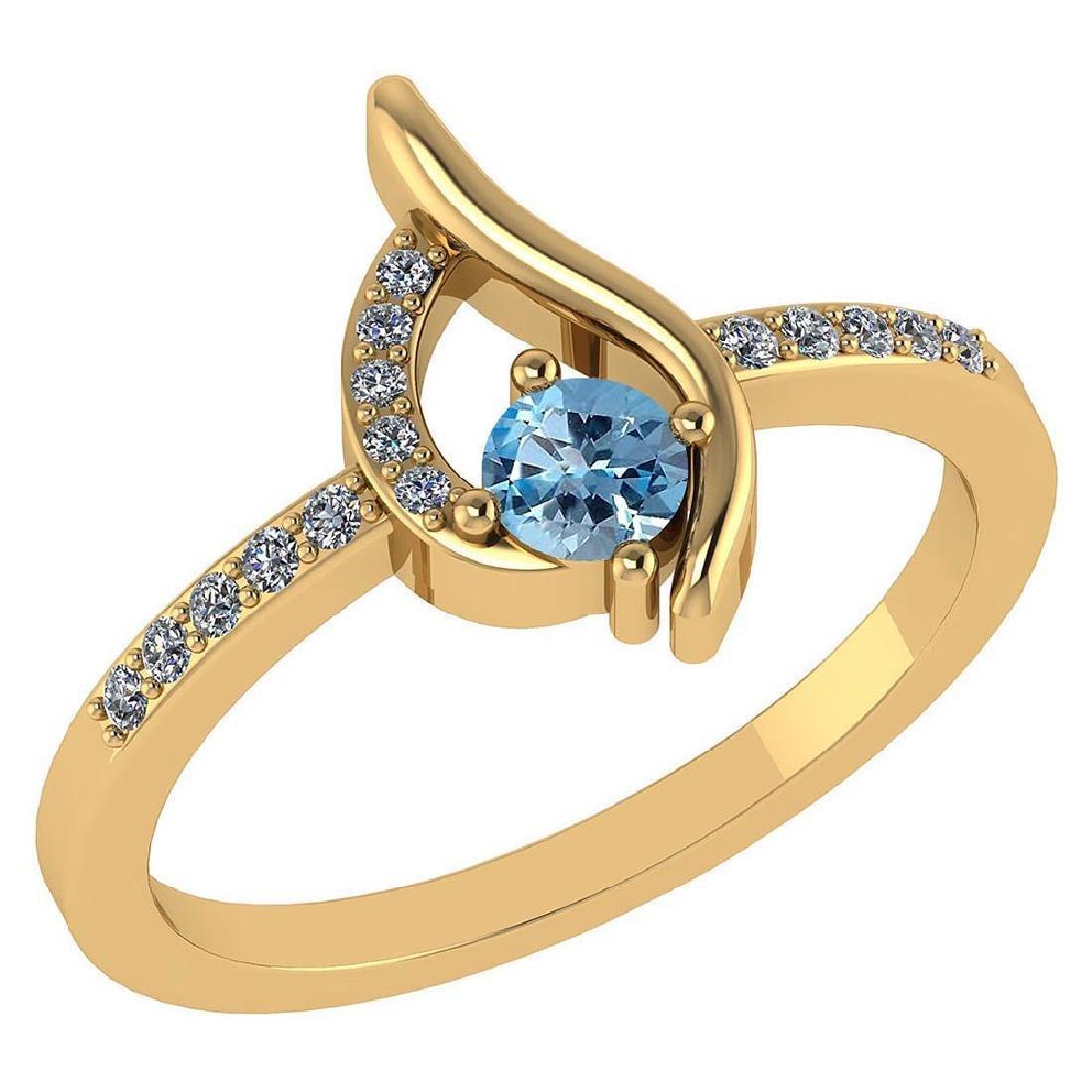 Certified .30 CTW Genuine Aquamarine And Diamond (G-H/S
