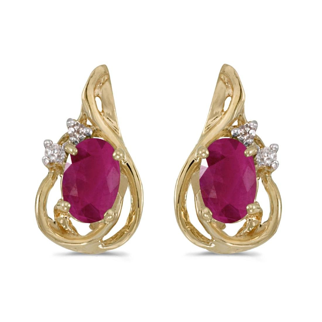 Certified 10k Yellow Gold Oval Ruby And Diamond Teardro