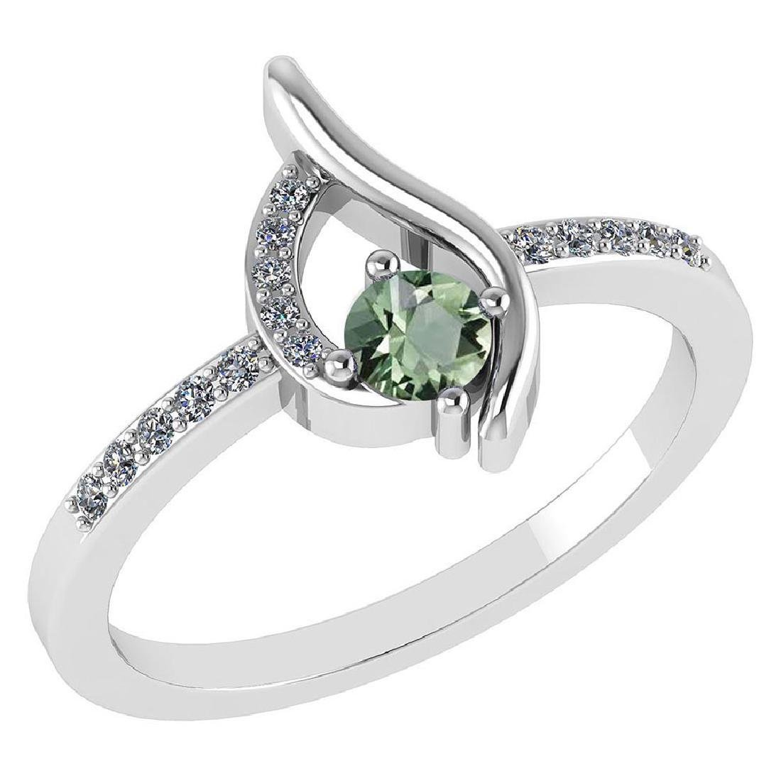 Certified .30 CTW Genuine Green Amethyst And Diamond (G