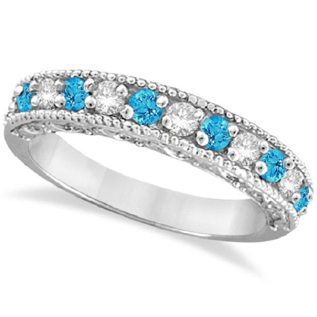 Blue Topaz and Diamond Band Filigree Ring Design 14k Wh