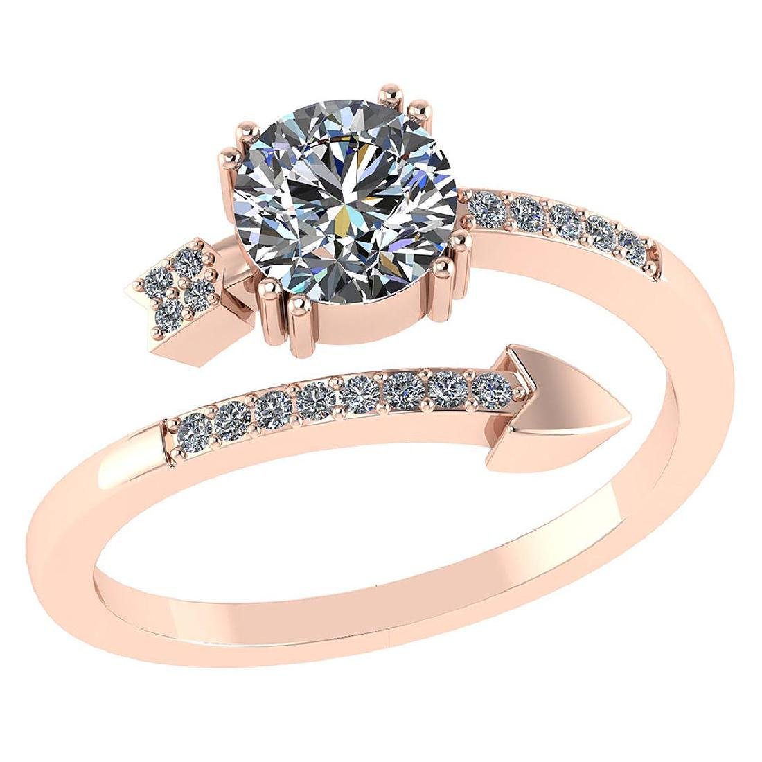 Certified .70 CTW Round Diamond 14K Rose Gold Ring