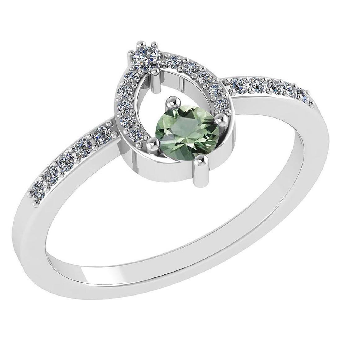 Certified .36 CTW Genuine Green Amethyst And Diamond (G