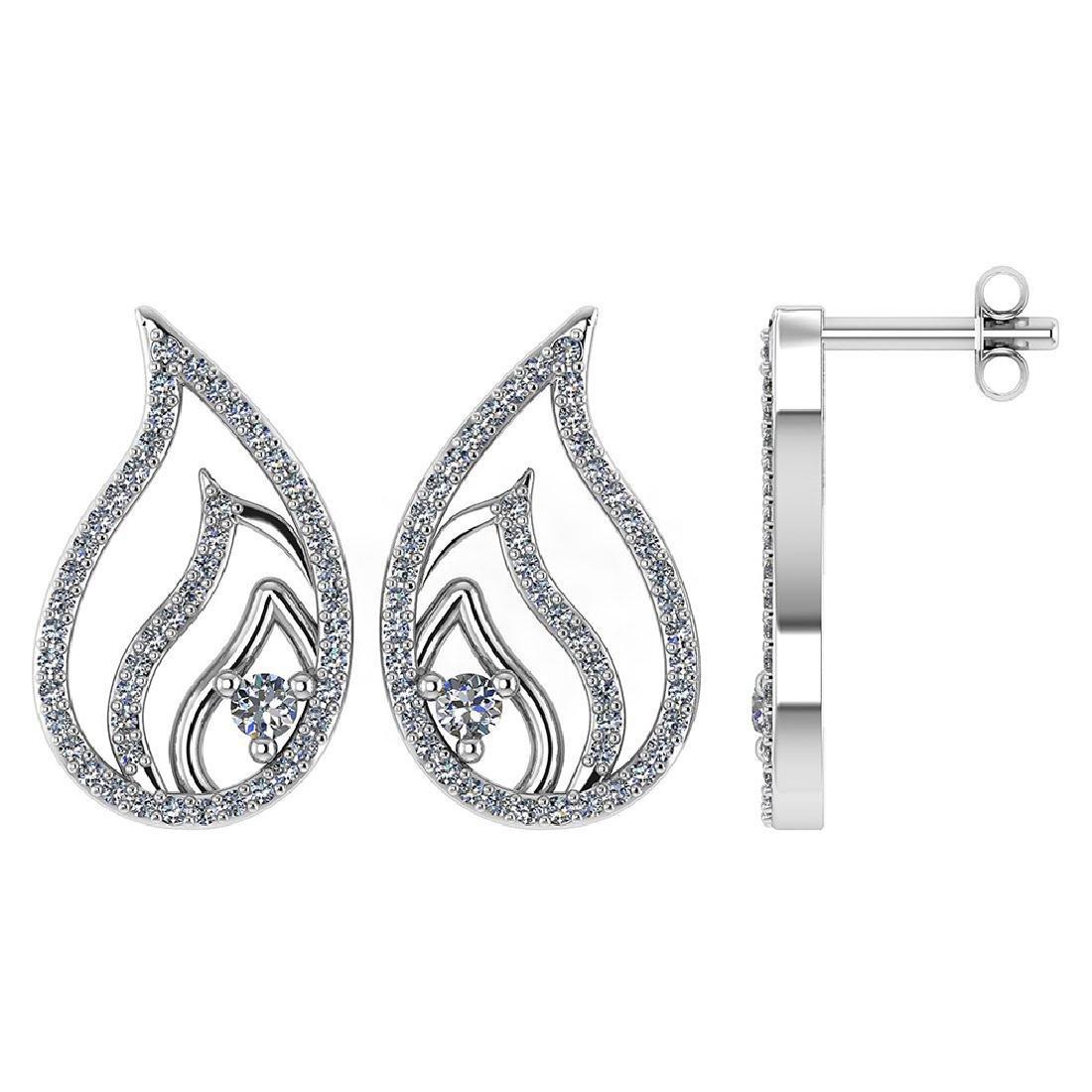 Certified .30 CTW Diamond Genuine 14K White Gold Stud E