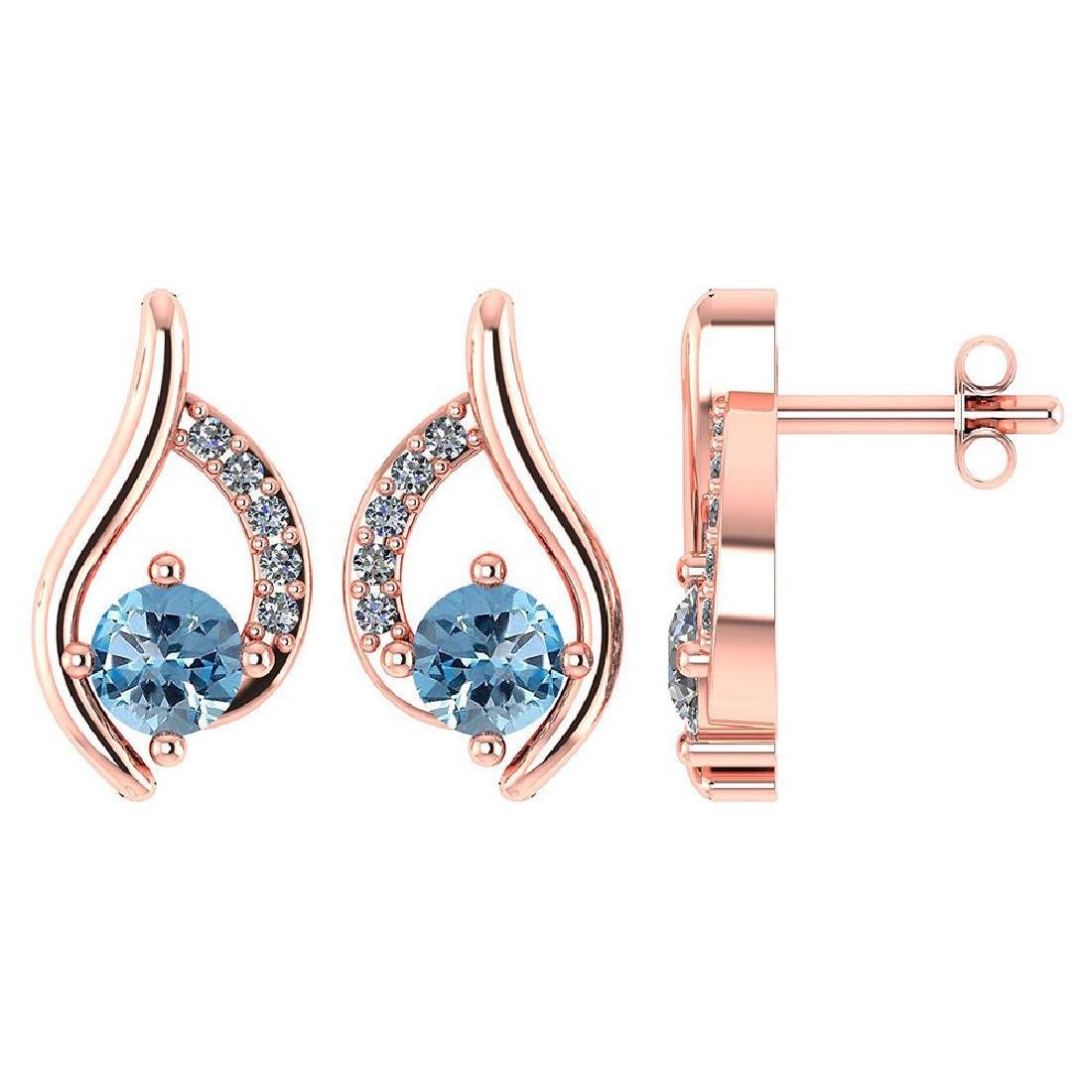 Certified .51 CTW Genuine Aquamarine And Diamond (G-H/S