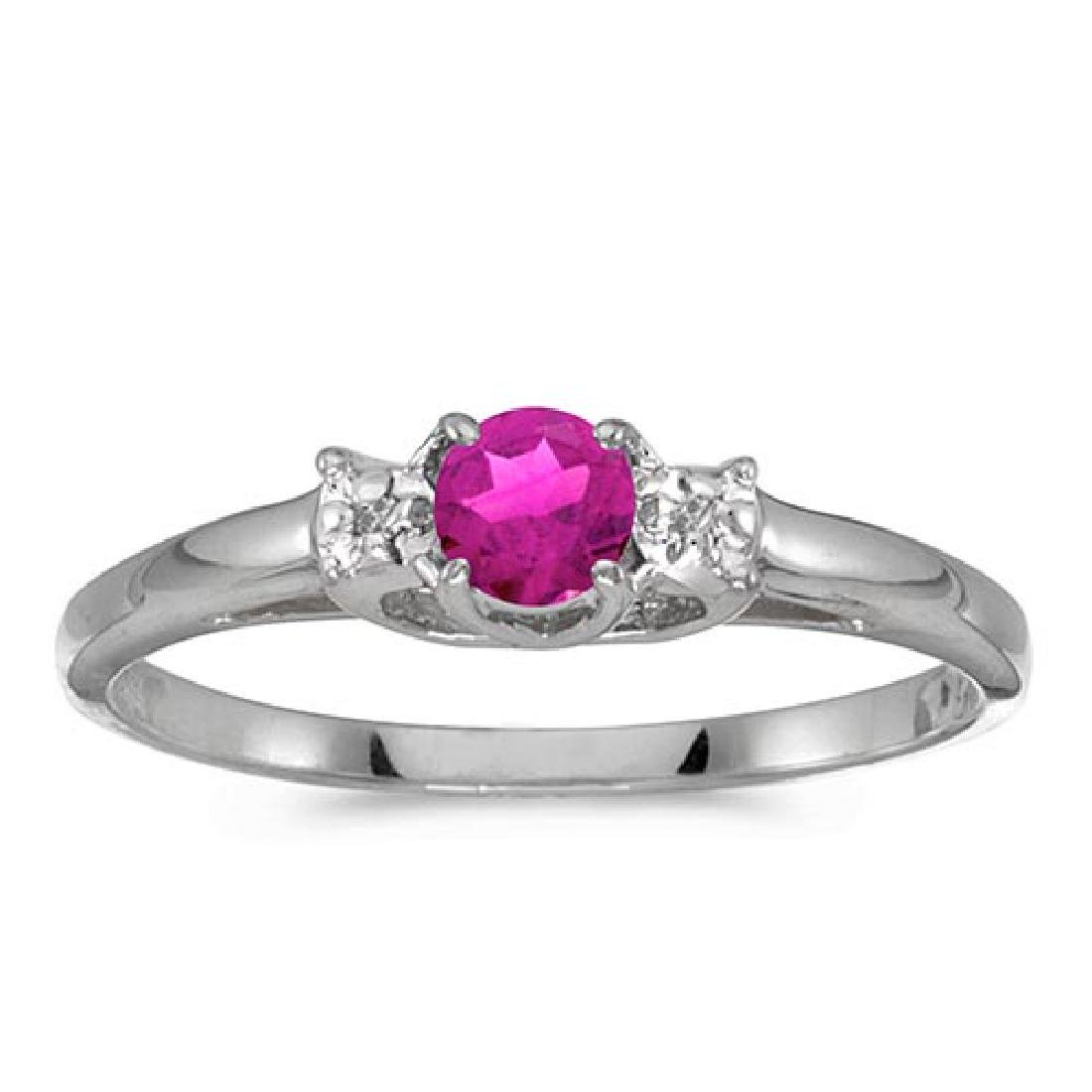 Certified 14k White Gold Round Pink Topaz And Diamond R