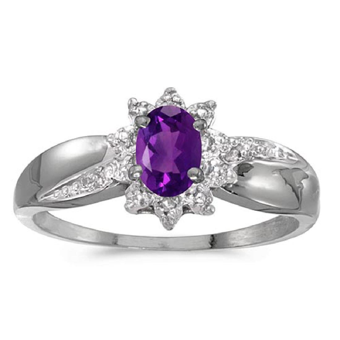 Certified 10k White Gold Oval Amethyst And Diamond Ring