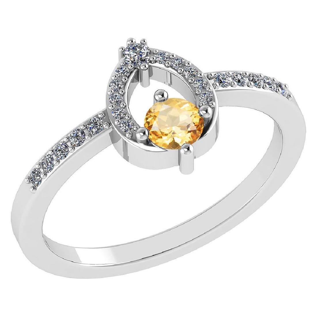 Certified .36 CTW Genuine Citrine And Diamond (G-H/SI1-