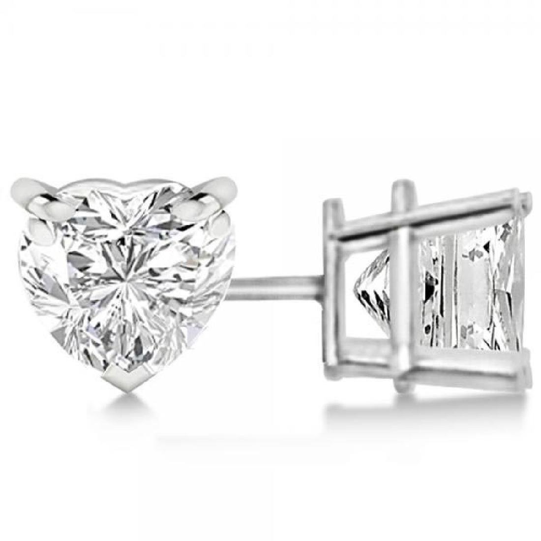 0.75ct Heart-Cut Diamond Stud Earrings 14kt White Gold