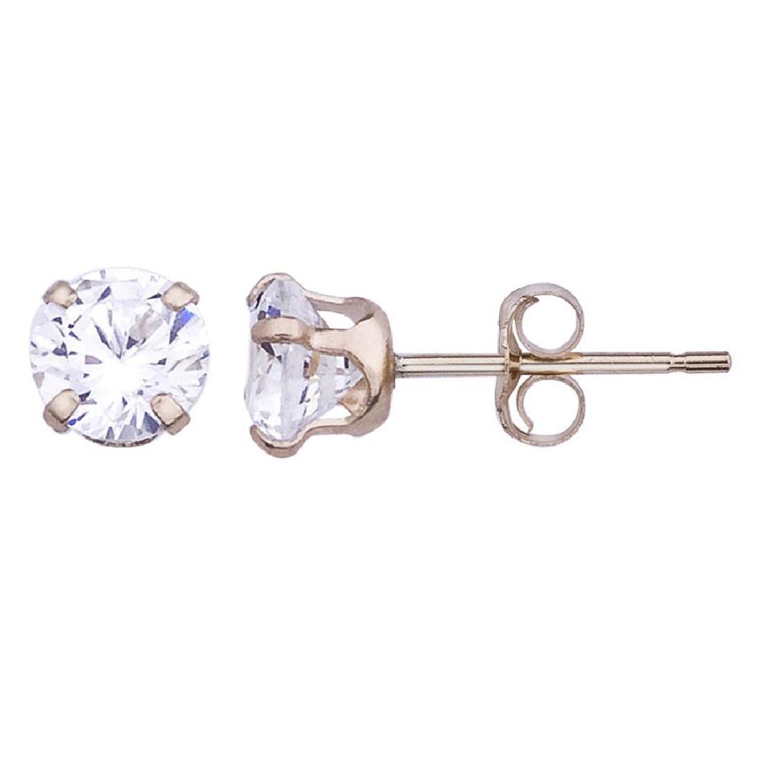 Certified 14k Cubic Zirconia Stud Earrings