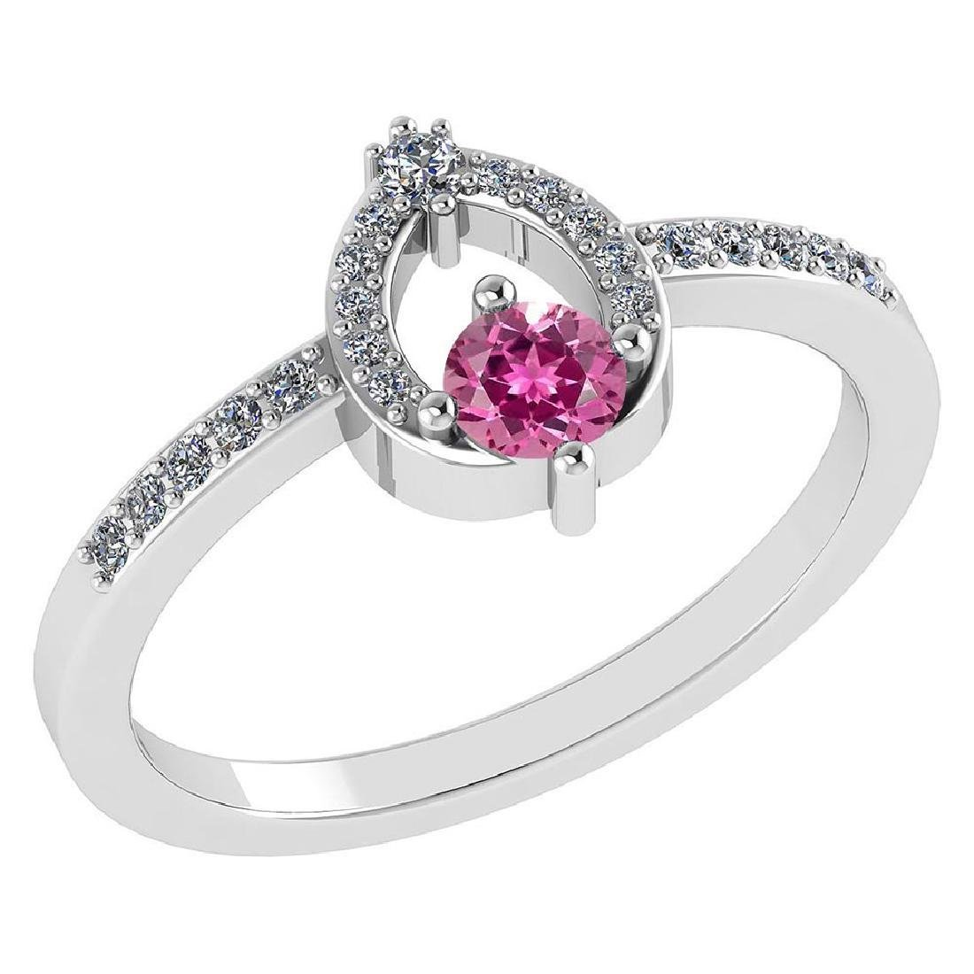 Certified .36 CTW Genuine Pink Touramline And Diamond (