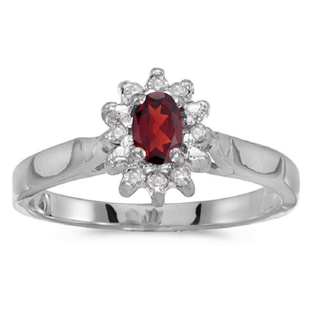 Certified 10k White Gold Oval Garnet And Diamond Ring