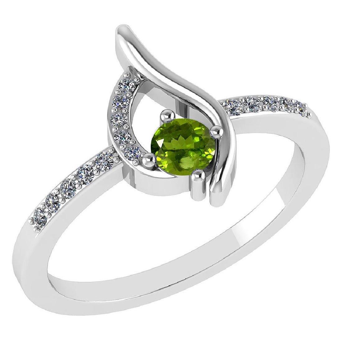 Certified .30 CTW Genuine Peridot And Diamond (G-H/SI1-