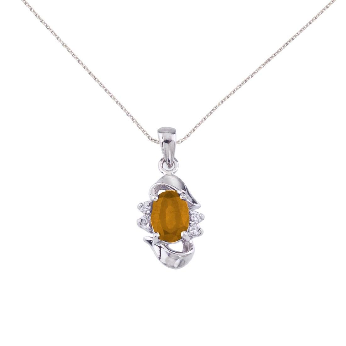 Certified 10k White Gold Oval Citrine And Diamond Penda