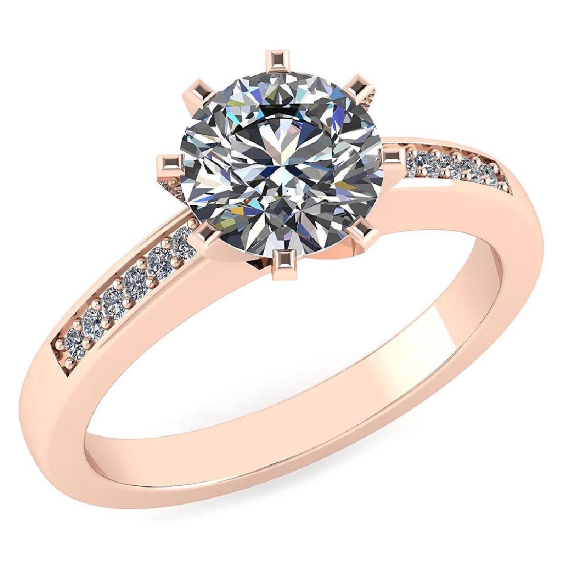 Certified .90 CTW Round Diamond 14K Rose Gold Ring