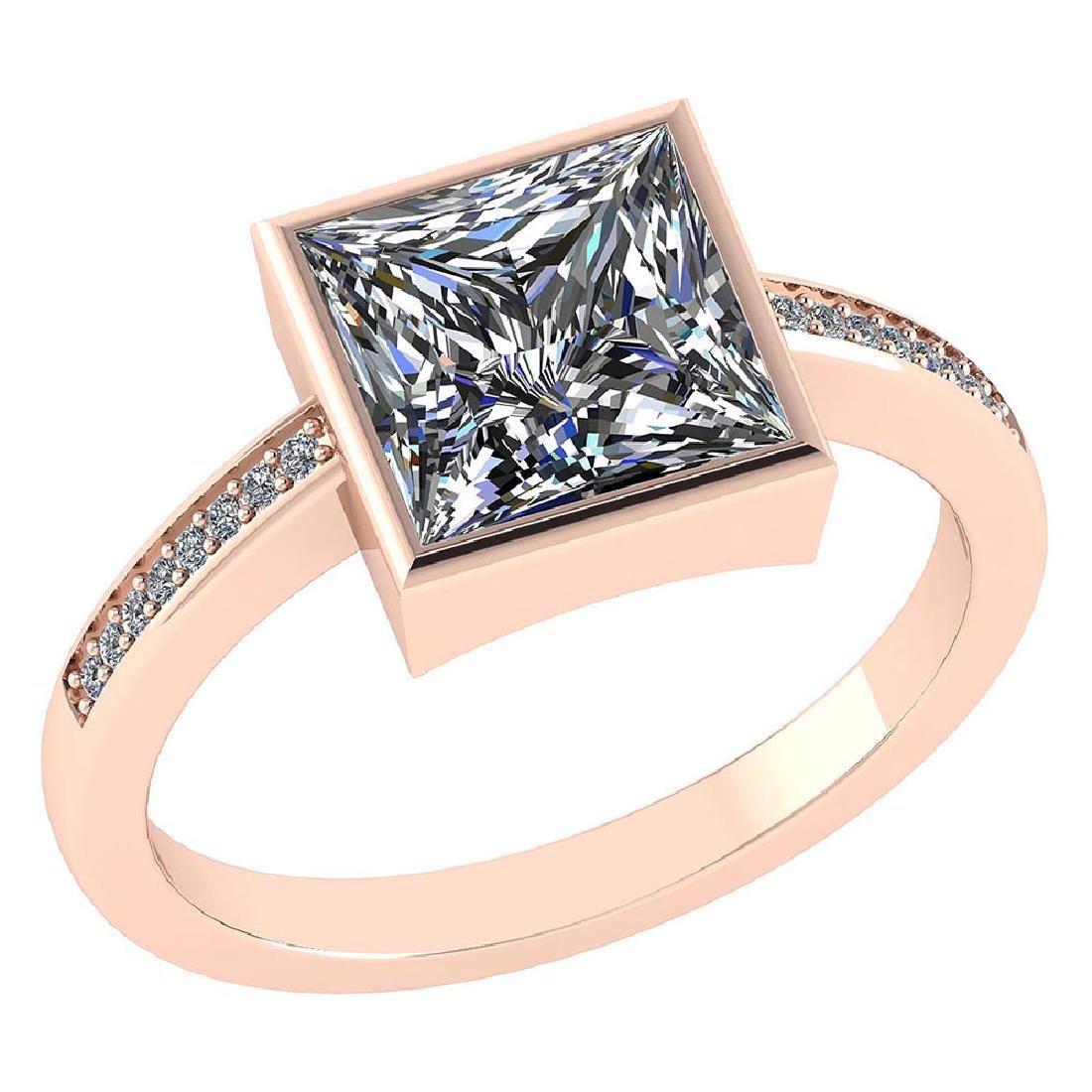 Certified 1.00 CTW Princess Diamond 14K Rose Gold Ring