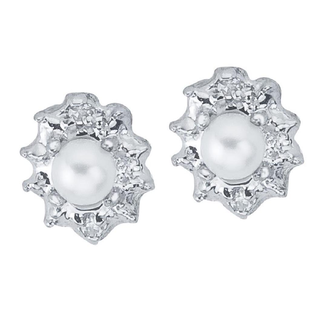 Certified 10k White Gold Pearl And Diamond Earrings