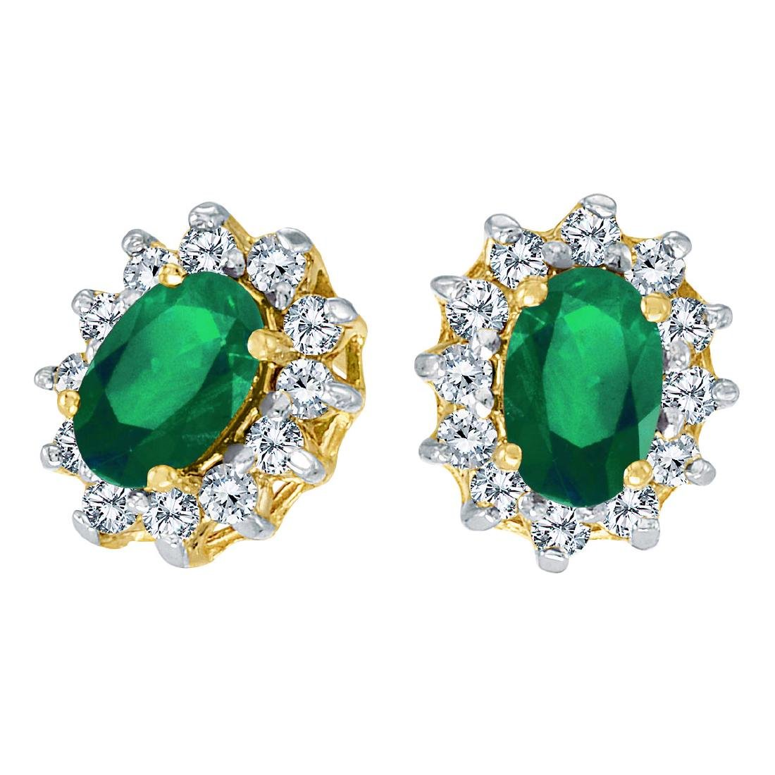 Certified 14k Yellow Gold Oval Emerald and .25 total ct