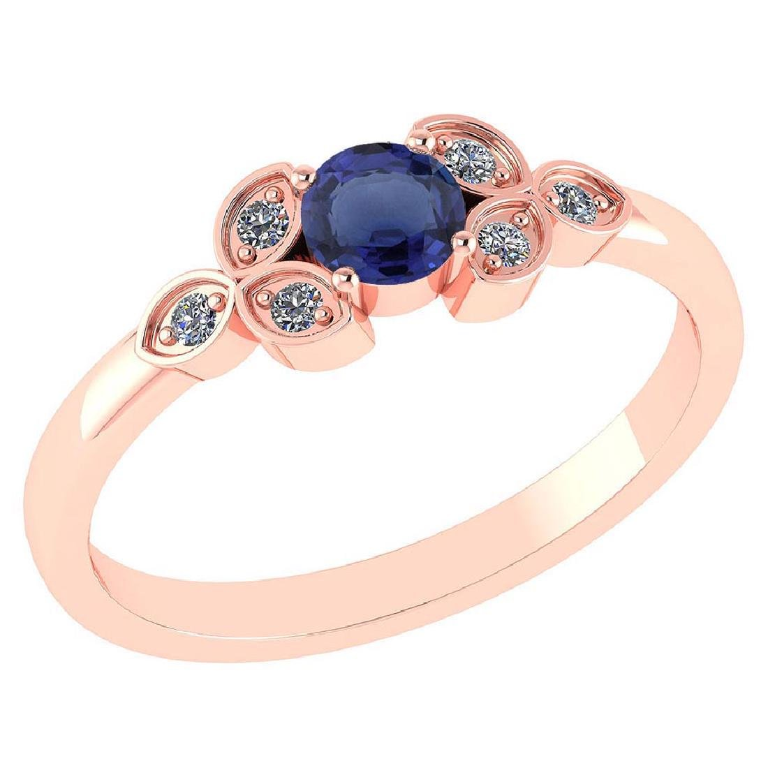 Certified .39 CTW Genuine Blue Sapphire And Diamond (G-