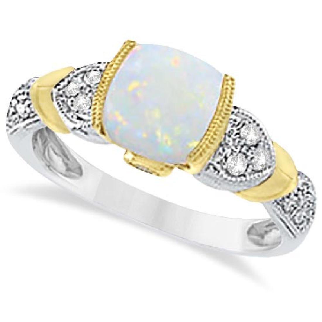 Tanzanite Diamond and Opal Ring 14k Two-Tone Gold (1.1