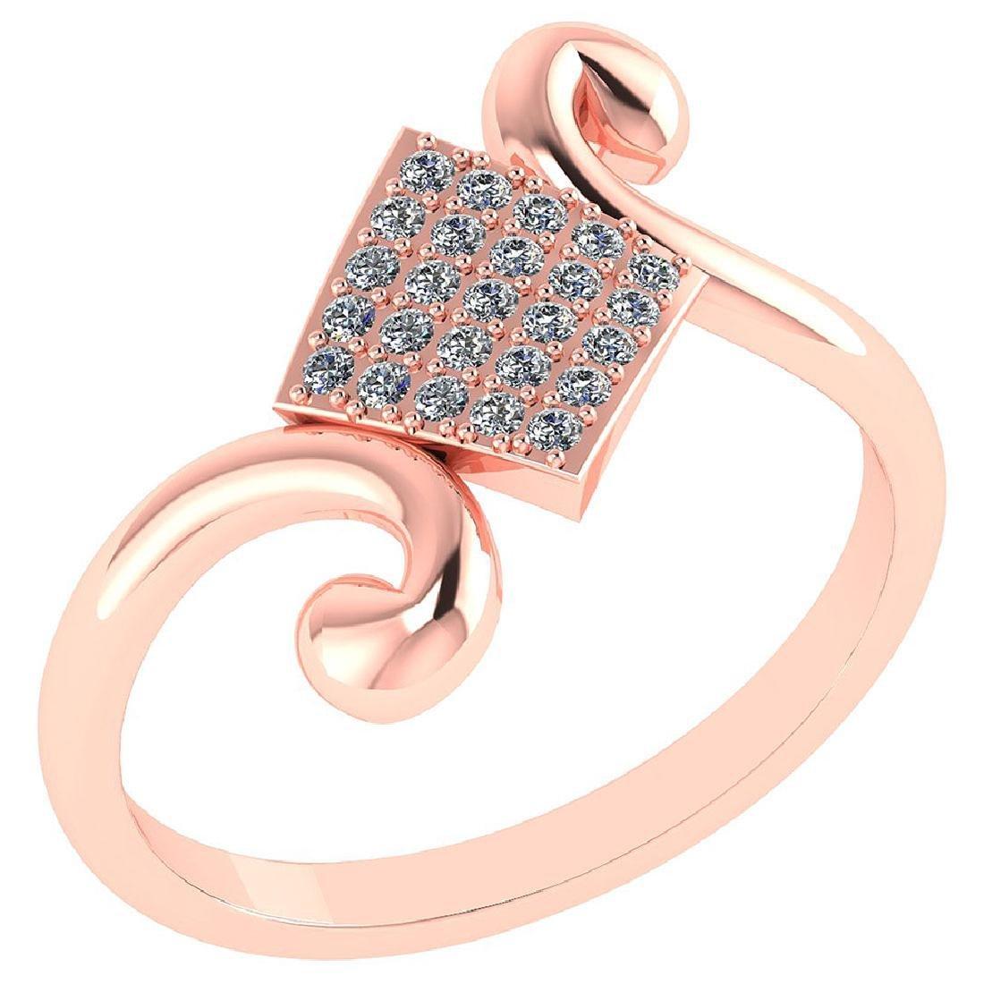Certified .25 CTW Diamond Genuine 14K Rose Gold Simple