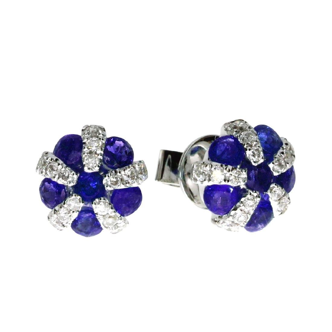 Certified 14k White Gold Sapphire and Diamond Ball Earr