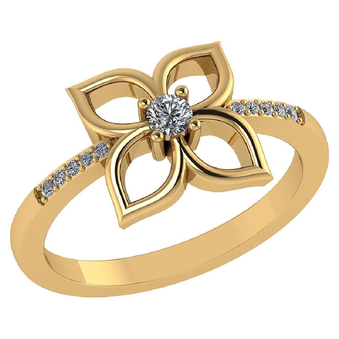 Certified .35 CTW Round Diamond 14K Yellow Gold Ring
