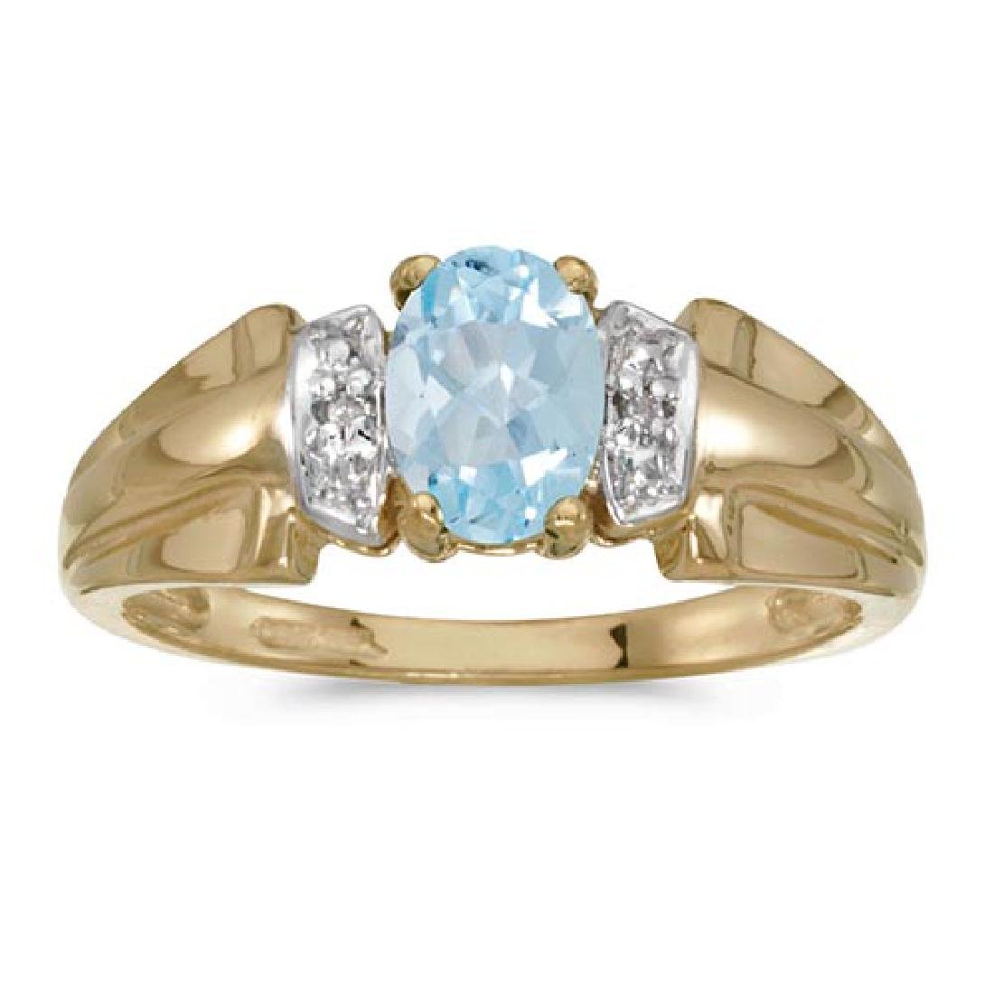 Certified 10k Yellow Gold Oval Aquamarine And Diamond R
