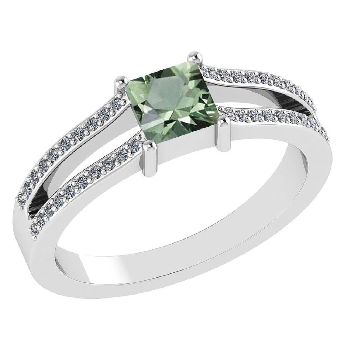 Certified .70 CTW Genuine Green Amethsyt And Diamond (G
