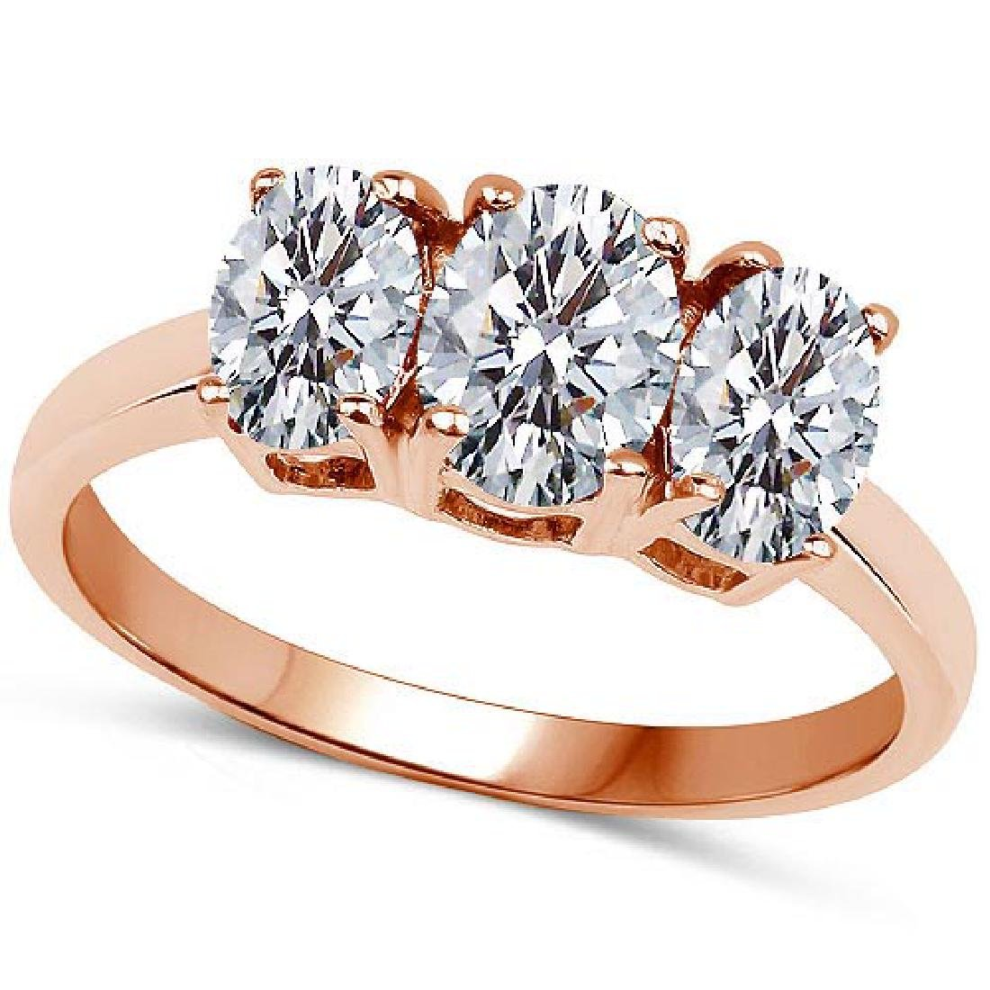 Certified .75 CTW Oval Diamond 14K Rose Gold Ring