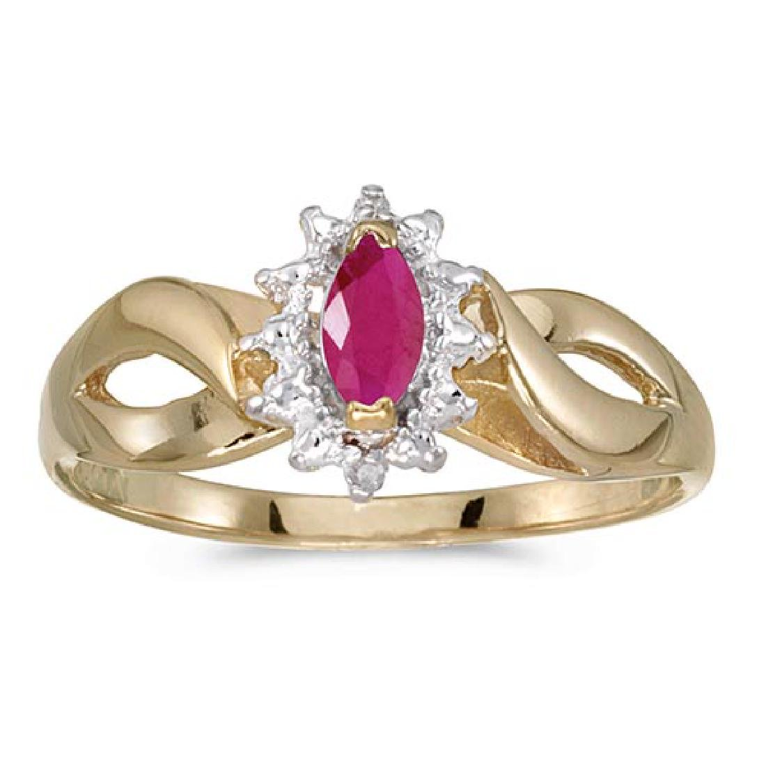Certified 10k Yellow Gold Marquise Ruby And Diamond Rin
