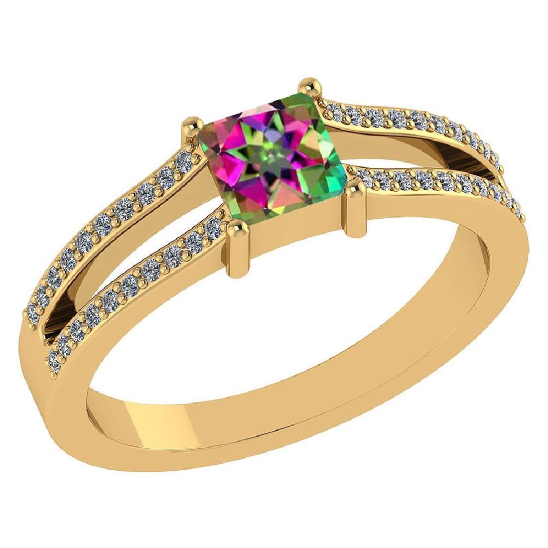 Certified .70 CTW Mystic Topaz And Diamond (G-H/SI1-SI2