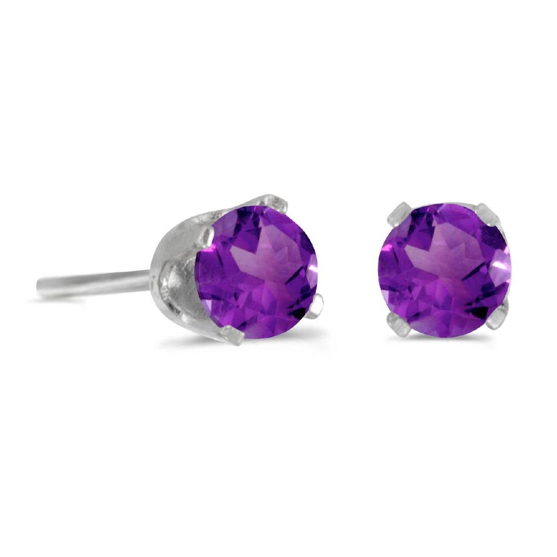 Certified 4 mm Round Amethyst Screw-back Stud Earrings