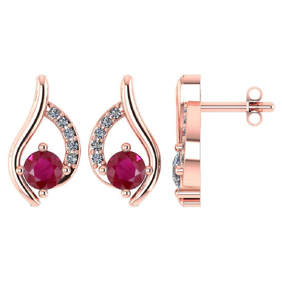 Certified .51 CTW Genuine Ruby And Diamond (G-H/SI1-SI2
