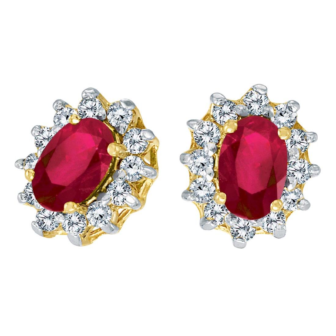 Certified 10k Yellow Gold Oval Ruby and .25 total CTW D