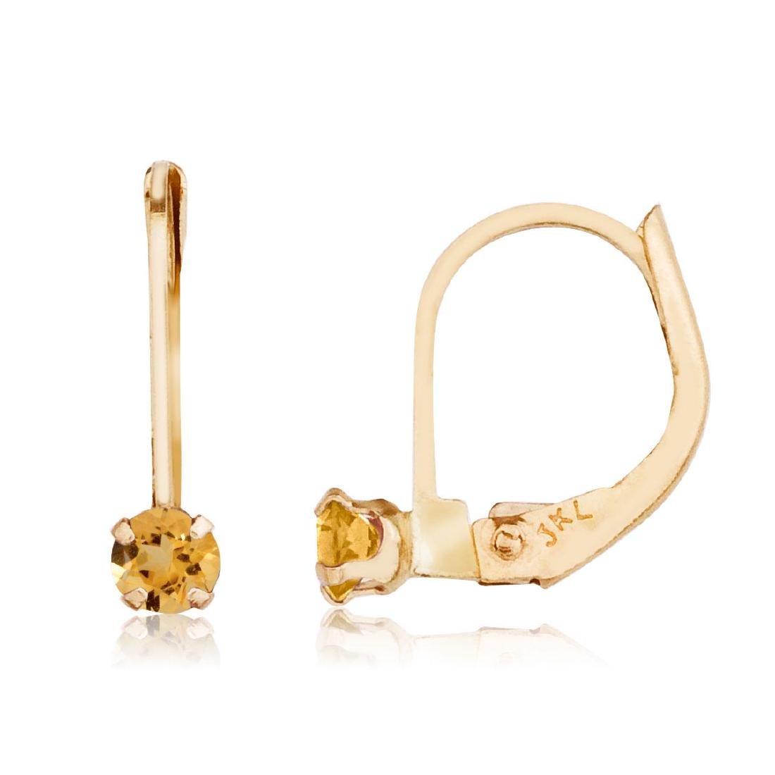 Certified 14k Petite Citrine Leverback Earrings