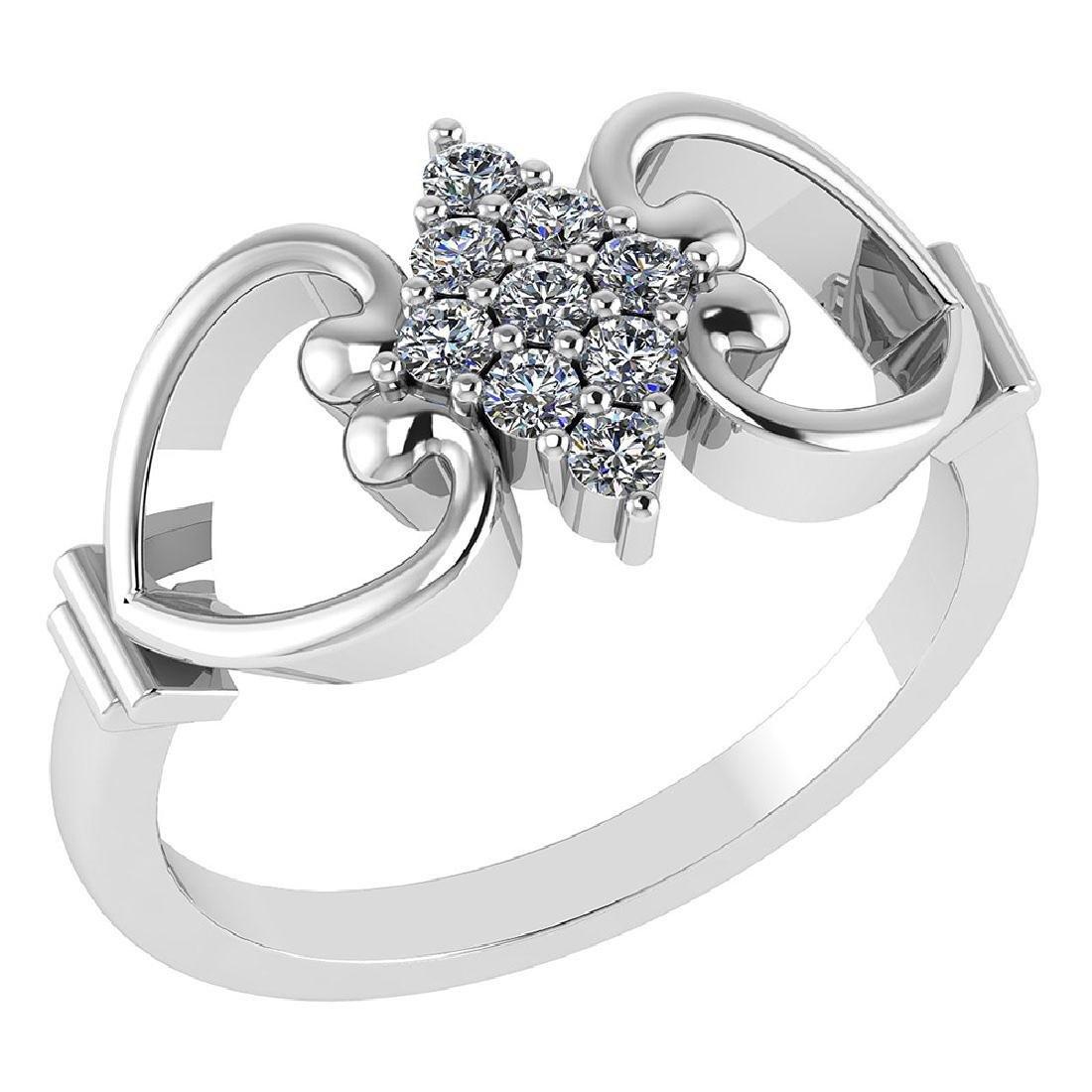 Certified .27 CTW Diamond Genuine 14K White Gold Simple