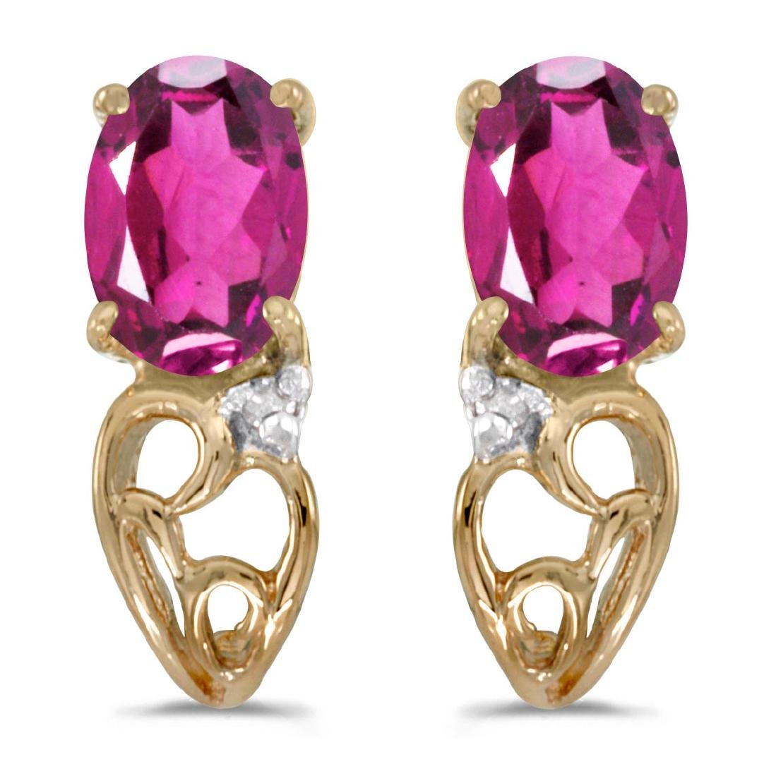 Certified 10k Yellow Gold Oval Pink Topaz And Diamond E